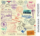 vector document stamp set.... | Shutterstock .eps vector #574253395