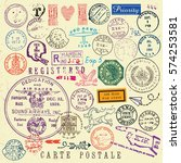 vector document stamp set.... | Shutterstock .eps vector #574253581