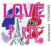 love in paris . typography... | Shutterstock .eps vector #574254085