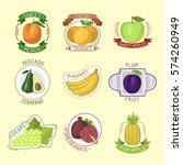 vector fruits badges. | Shutterstock .eps vector #574260949