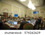 Small photo of Conference room or seminar meeting room in business event. Session of Government. Academic classroom training course in lecture hall. blur abstract background. working in modern bright office indoor