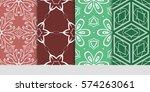 set of flower  geometric... | Shutterstock .eps vector #574263061