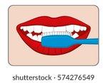 woman brushing her teeth vector ...   Shutterstock .eps vector #574276549