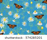seamless floral pattern with... | Shutterstock .eps vector #574285201