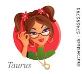 portrait of taurus astrological ... | Shutterstock .eps vector #574292791