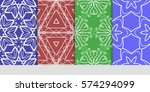 set of seamless lace floral... | Shutterstock .eps vector #574294099
