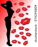 sexy woman silhouette kisses... | Shutterstock . vector #574295809