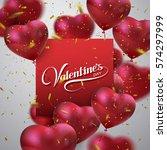 happy valentines day. vector... | Shutterstock .eps vector #574297999
