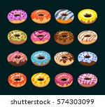 sweet donut set. the... | Shutterstock .eps vector #574303099