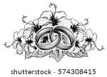 a pair of intertwined wedding... | Shutterstock .eps vector #574308415