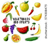 vegetables and fruit vector set.... | Shutterstock .eps vector #574308475
