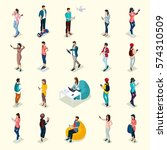 trendy isometric people and... | Shutterstock .eps vector #574310509