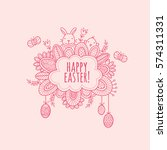 happy easter hand drawn doodle...   Shutterstock .eps vector #574311331