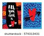 all you need is love. set of 2... | Shutterstock .eps vector #574313431
