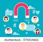 magnet engaging followers.... | Shutterstock .eps vector #574314661