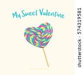 heart shaped lollipop  a sweet...   Shutterstock .eps vector #574319581