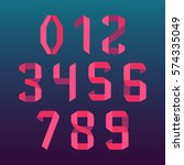 paper folded numbers set in... | Shutterstock .eps vector #574335049