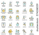 modern icons set of fitness ... | Shutterstock .eps vector #574338559