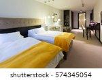 Stock photo bedroom interior in hotel apartment 574345054