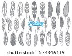 hand drawn feather doodle set... | Shutterstock .eps vector #574346119