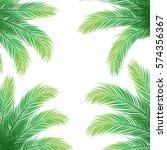 palm leaves on white background ... | Shutterstock .eps vector #574356367