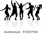 dancing people silhouettes. | Shutterstock .eps vector #574357534