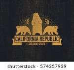 california t shirt with grizzly ... | Shutterstock .eps vector #574357939
