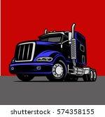 cool truck cargo color comic... | Shutterstock .eps vector #574358155