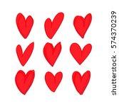 set of nine hand drawn red... | Shutterstock .eps vector #574370239