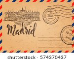 retro envelope with stamps ... | Shutterstock .eps vector #574370437