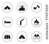 set of 9 editable travel icons. ... | Shutterstock . vector #574373335