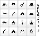 set of 16 editable trip icons.... | Shutterstock . vector #574377841