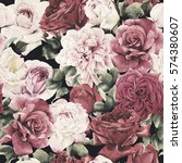 seamless floral pattern with... | Shutterstock . vector #574380607