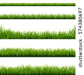 big set green grass borders | Shutterstock . vector #574380697