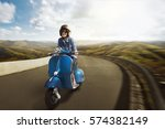 young asian woman riding motor... | Shutterstock . vector #574382149