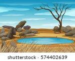 african water hole scene | Shutterstock .eps vector #574402639