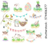 set  collection of watercolor... | Shutterstock . vector #574406377