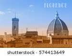 travel postcard with view of... | Shutterstock . vector #574413649