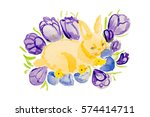 watercolor easter rabbit | Shutterstock . vector #574414711