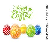 color easter eggs for your... | Shutterstock .eps vector #574417489