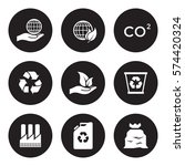 ecology icons set. white on a... | Shutterstock .eps vector #574420324