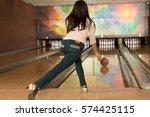 rolling the ball. rearview full ... | Shutterstock . vector #574425115