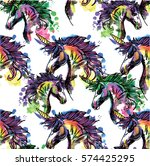 seamless pattern with unicorns. ... | Shutterstock .eps vector #574425295