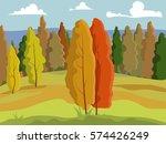 beautiful autumn background.... | Shutterstock .eps vector #574426249