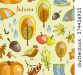 autumn icon and objects pattern ... | Shutterstock .eps vector #574426915