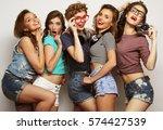 happy girls friends taking some ... | Shutterstock . vector #574427539