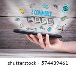 e commerce. tablet computer in... | Shutterstock . vector #574439461
