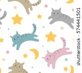 Cute Vector Pattern With Cats ...