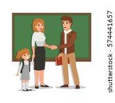 parent meeting with teacher in... | Shutterstock . vector #574441657