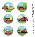 different car accidents. types... | Shutterstock . vector #574442425